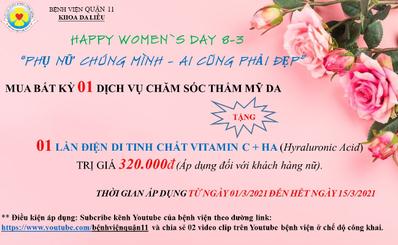 ƯU ĐÃI CHĂM SÓC THẨM MỸ DA MỪNG NGÀY QUỐC TẾ PHỤ NỮ 8/3